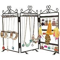MyGift Nero 3Pannello Cuore Design Trellis pieghevole gioielli Hanger supporto per orecchini, collane e bracciali