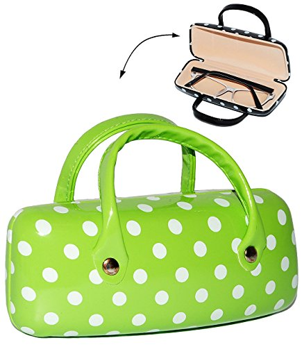 2-in-1-brillenetui-kleine-tasche-fur-utensilien-grun-mit-weissen-punkten-hardcase-hartschale-extrem-