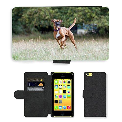 Just Mobile pour Hot Style Téléphone portable étui portefeuille en cuir PU avec fente pour carte//m00138581chien Boxer Boxer Happy pour chien//Apple iPhone 5C