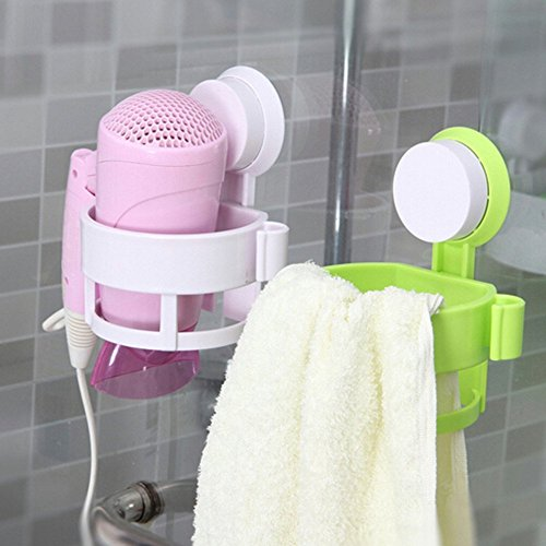 Swarish Bathroom Salon Hair Dryer Holder Rack with Vacuum Suction Cup Wall Mount Round Hairdryer Stand Bathroom Organizer Accessories ,1 Piece