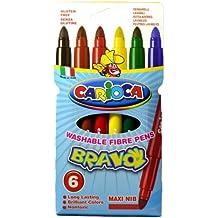 Carioca Bravo Extra-grueso Multicolor 6pieza(s) - Rotulador (Extra-grueso, Multicolor, Punta redonda, 6 mm, Alrededor, Italia)