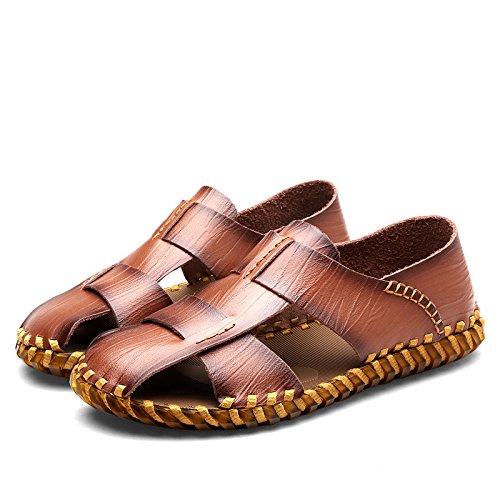 Shaoeo Sandales D'Été Hommes Sandales En Cuir Souple Confortable Coast Light brown