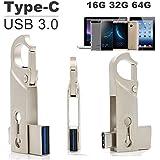 SETAYO 32GB USB-C a USB 3.0 Flash Drive Memory Stick con llavero para el MacBook Pro, Samsung Chromebook Además, Nexus 6P 5X, Google píxeles, G5 LG, HTC y Más 10 -Estilo D