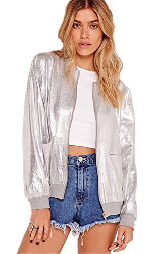 Reißverschluss Vorne Zip Up Shiny Metallic Silber Bomberjacke Blouson Aviator Flight Jacket Jacke Oberteil Top