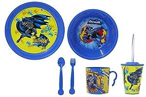 Jamara 410135 Batman - Vajilla Infantil (8 Piezas, Apto para lavavajillas, Plato, Taza, Cuenco para Cereales, Tenedor, Cuchara, Vaso con Tapa y Pajita), diseño de Batman, Color Azul