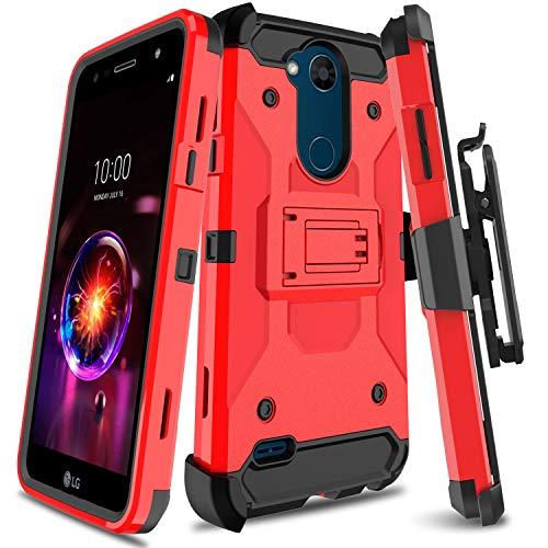 Leaptech Schutzhülle für LG X Power 3 Serie, robust, mit drehbarem Gürtelclip und Ständer, für LG Fiesta LTE/LG LV7 / LG K10 Power/LG X Charge, rot