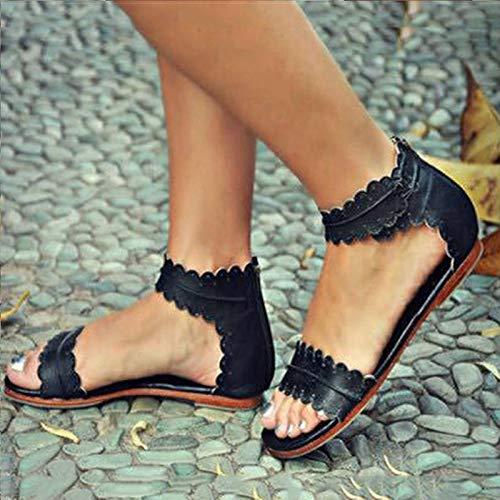 YangGradel Sandalias Planas para Mujer, Sandalias de Ocio, Zapatos de Verano, Playa, Correas al Tobillo...