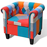 Anself Sessel Polstersessel Armsessel Wohnzimmersessel Loungesessel mit Kissen Patchwork Design