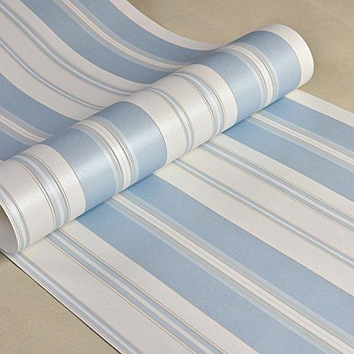 *MultiKing Tapete Mediterranen Stil 3D-blauen vertikalen Streifen Tapete Schlafzimmer Wohnzimmer Hintergrund Mädchen Jungen Kinderzimmer Tapete, Blau*