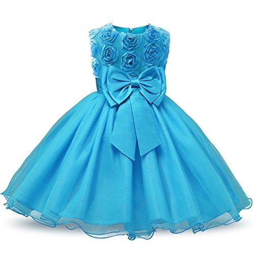 NNJXD Mädchen Ärmellos Spitze 3D Blumen Tutu Urlaub Prinzessin Kleider Größe(110) 2-3 Jahre Blau (Kleinkind-kleid-kleider)