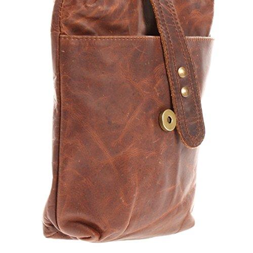 LECONI kleine Schultertasche Umhängetasche Damen Ledertasche Damentasche Leder 19x23x6cm LE3045 braun