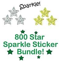 800 Star Sparkle Sticker Bundle. Includes Gold Sparkle Stars (x400) Silver Sparkle Stars (x400)
