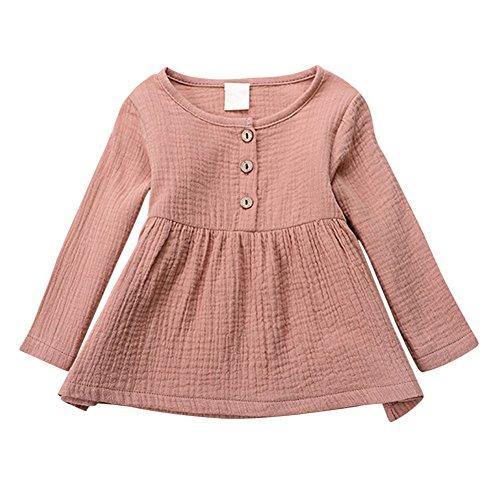 Brightup Kleines Mädchen T-Shirt Baumwolle und Leinen Bluse Frühling Tops Prinzessin Kleid