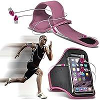 Fone-Case (Light Pink) Huawei Nova fascia da braccio Sports regolabile copertura di custodia per l'esecuzione di Corsa Bicicletta Palestra con qualità Premium in auricolari stereo cuffie mani libere Auricolare con Microfono incorporato Microfono e pulsante On-off