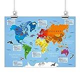 nikima - Kinder Lernposter Weltkarte - Plakat für Kindergarten Schule Schulanfang Schuleintritt Einschulung Kinderzimmer Deko Wandbild - Größe DIN A2-594 x 420 mm