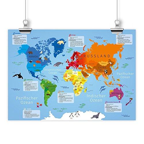 Kinder Lernposter Weltkarte A1/ A2/ A3 Größe DIN A1 - 841 x 594 mm (Weltkarte Im Klassenzimmer)