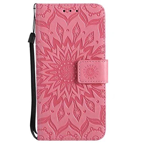 EKINHUI Case Cover Doppelseitig geprägtes Sonnenblumenmuster Premium PU Ledertasche mit Kartenschlitze und Lanyard für iPhone X ( Color : Gray ) Pink