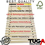 TUGA-Holztech Massivholz 20mm Rollrost Lattenrost 100x200cm bis weit über 200Kg Flächenlast Qualitätsarbeit aus Deutschland unbehandelt Naturprodukt mit Garantie 5 Jahre