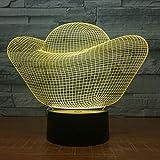 Night Light 3D Illusion Optique Lampe Lingot D'Or Led Lampe 7 Couleur Toucher Usb Table Acrylique Enfants Chambre Chambre Cadeau