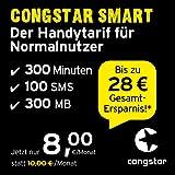 congstar Smart Tarif [SIM, Micro-SIM und Nano-SIM] monatlich kündbar (8,00 Euro/Monat, 300 MB Datenflat mit max. 7 Mbit/s, monatlich 300 Minuten und 100 SMS) in bester D-Netz-Qualität
