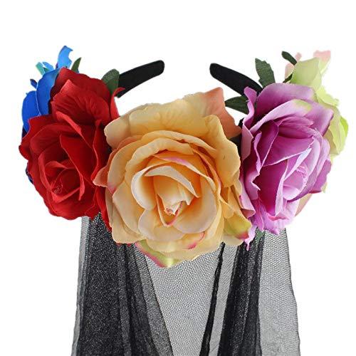 GAOwi 50 cm Hen Party Hochzeit Brautschleier mit Haarband-1 Tier Black Rose Blume Schleier Bar Party Haarschmuck Kopf Schnalle Halloween Cos Dress Up Stirnband,A