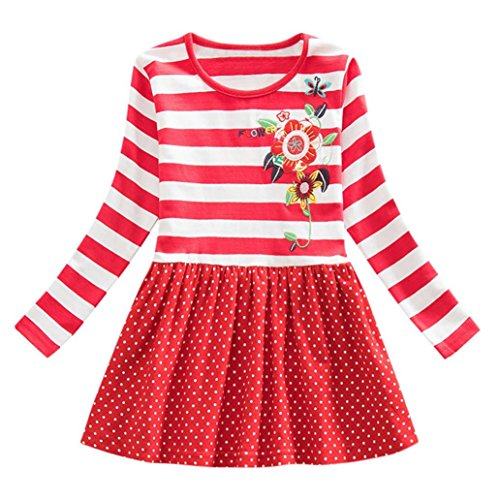 OverDose Nettes Kleinkind Baby Kind Blumen Druck Stickerei-Prinzessin Party Kleid Bluse Dress Langarm T-shirts Party Kleid Mini Kleid (5T,B-Rot) (5t-shirt)