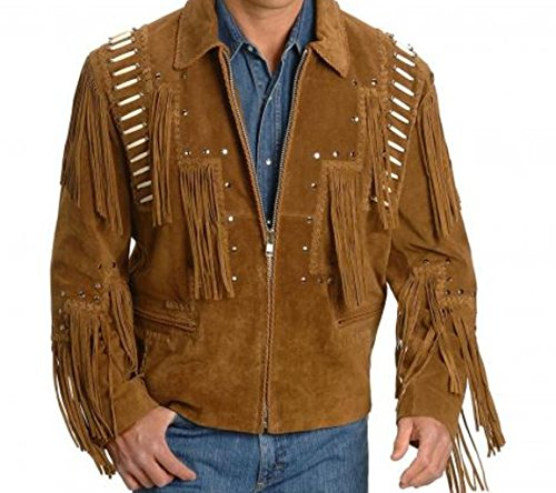 Mens Brown Western Cowboy Real Suede Leather Jackets for Sale 19 XL -