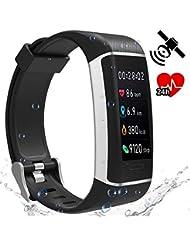 Fitness Prince SmartHealth GPS-Fitnesstracker mit Pulsmessung & Farbdisplay - Bluetooth Aktivitätszähler Fitnessarmband Laufuhr Kompatibel mit iPhone & Android