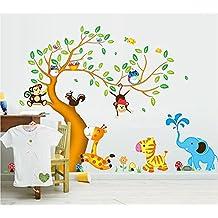 Ufengke® Cartoon Glücklich Tier Baum Mit Eule Affen Zebra Giraffe  Wandsticker, Babyzimmer Kinderzimmer Entfernbare