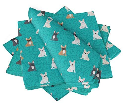 S4Sassy Grun Stier Hund & geometrisch Hund Baumwollserviette gedruckt jeden Tag Basic waschbar Tischwäsche 18 x 18(Packung mit 4) 4 Servietten Basic