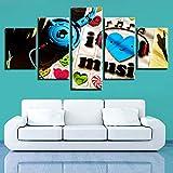 mmwin Leinwand Modulare Bilder 5 Stücke HD Drucke Music Notes Dekoration Wandkunst Nacht Hintergrund Herz Kunstwerk Poster