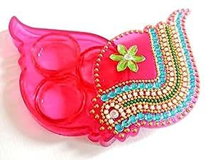 Elegant Handmade Shankh Shape Kumkum Box, Decorated With Classic Kundan Work, and Multi-color Stones Made On Acrylic
