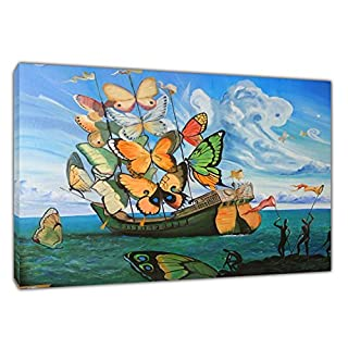 SHIP BUTTERFLY BY SALVADOR DALI REPRINT ON FRAMED CANVAS PICTURES WALL ART DECORATION READY TO HANG 30 x 20 inch -18mm depth