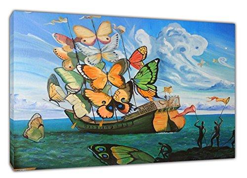 Schmetterling von Salvador Dali Gerahmte Leinwand Bild Wandbild Dekoration zum Aufhängen, 34 x 24inch -18mm depth -
