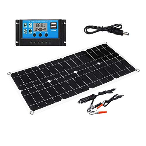 EZIZB 50W 18V Solarpanel Kit Solarladegeräte wasserdichte Power Bank Tragbares Solar Panel Mit USB Anschluss Für Outdoor Camping Wandern, 540x280x2.5mm