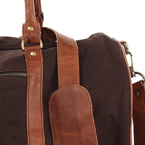 LECONI Reisetasche für Damen & Herren Ledertasche Weekender groß Sporttasche Männer + Frauen Handgepäck Sporttasche echtes Rinds-Leder und Canvas Segeltuch Natur Retro 53x28x28cm LE2004-C mokka / braun