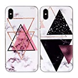 Misstars 2X Coque en Silicone pour iPhone XS Max (6,5 Pouces) Marbre, Ultra Mince TPU Souple Flexible Housse Etui de Protection Anti-Choc Anti-Rayures Bumper, Triangle Rose+Triangles