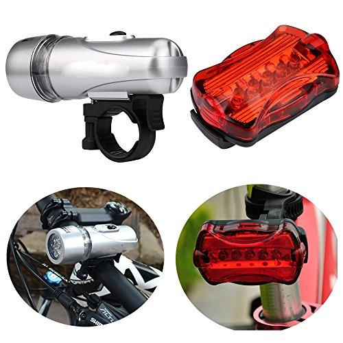 Fahrrad-Licht-Set, Ulanda-EU Wasserdicht 6 LED Lampe Bike Frontscheinwerfer + Heck Sicherheits-Taschenlampe Set, Beste Front- und Heckzyklusbeleuchtung, passt alle Fahrräder