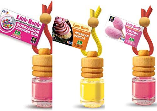 3 elegante Duftflakons für Auto und Wohnung süsses Bestseller Mix: 1 x American Vanilla - süsse Vanille, 1 x Bubble Gum - Kaugummi,1 x Cotton Candy - Zuckerwatte -