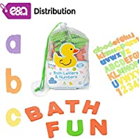 E&A Distribution Limited Baby bath magnetic foam letters - numbers 62 pieces for children toy net set kids toy shower storage learning resources bath toys for 2-5 years old baby accessories