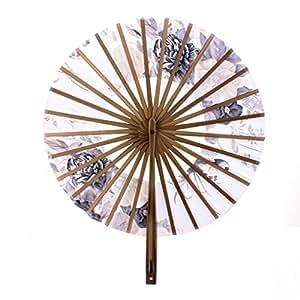 Eventail Rond Style Japonais Motif de Fleurs Eventail de Poche Cadeau Décoration
