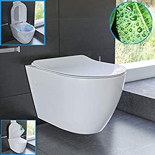 Designer Wall Hung Toilet WC - White Ceramic Rimless Wall-Mounted Toilet with Nano Coating, SoftClose Automatic Closure and Quick Release Function