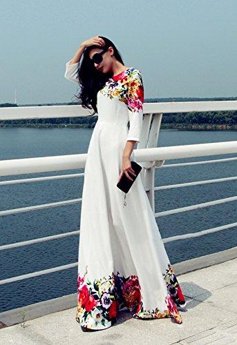 Teamyy Femme Vintage Haute Taille Longue Mousseline de Soie Floral Party Mariage Maxi Robe Blanc
