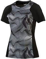 PUMA Graphic S/S Tee W - Camiseta técnica para mujer, color negro / gris, talla M