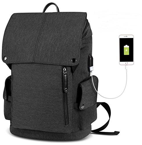 Laptop Notebook Rucksack USB Ladeanschluss: 35L gefütterte Tasche für Laptop bis zu 15.6 Zoll - Wasserdichte Schultasche, Arbeitstasche für Computer bei Arbeit, Schule, Uni & Reisen … (Schwarz 2)