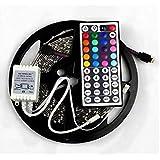 Goliton® 5M 300LEDS 3528 RGB LED de la lámpara fija con pegamento impermeable 5050 coloridas luces 44 controlador de botón DC 12V 2A