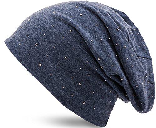 Jersey Baumwolle elastisches Long Slouch Beanie Unisex Herren Damen mit Strass Stern...