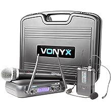 Sisterma de microfonos inalambricos con microfono de mano y transmisor de petaca con microfono de cabeza que ofrece una excelente calidad de sonido y gran fiabilidad