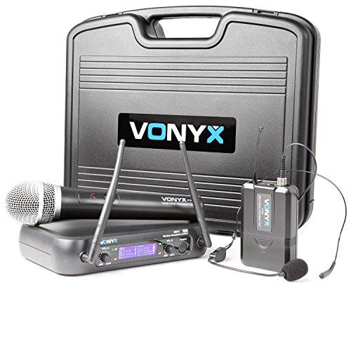 Vonyx WM73C Doppio sistema radiomicrofoni senza fili (1 microfono a gelato, 1 microfono ad archetto, UHF, Ricevitore duale, display blu, 2 uscite XLR da 6,3 mm, Valigetta)