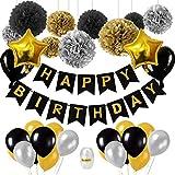 Decorazione di compleanno nero e oro, 18 ° compleanno decorazione con palloncini oro nero, oro palloncini coriandoli e carta velina pompon per donna 18 ° 30 ° 40 ° 50 ° 60 ° 70 ° materiale per feste …